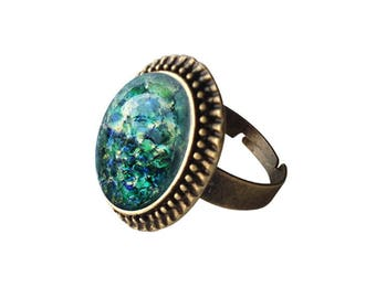 Get 15% OFF - Green Opal Oval Glass Cabochon Antique Bronze Adjustable Ring - 4th of July SALE 2017