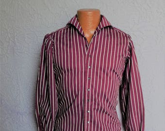 60's Vintage Men's Mod Ultra Violet Striped Shirt hippie small