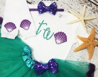 Mermaid second birthday outfit,  mermaid birthday outfit, Ariel birthday party outfit, mermaid TWO bodysuit, mermaid smash cake outfit