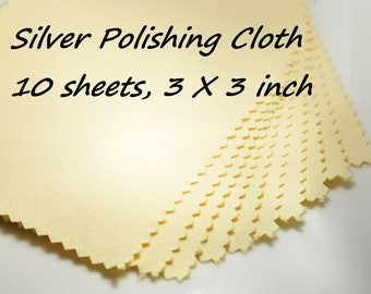 10 sheets silver cleaning cloth, silver polishing cloth, 3x3 inch, 80x80 mm, yellow color, for sterling silver