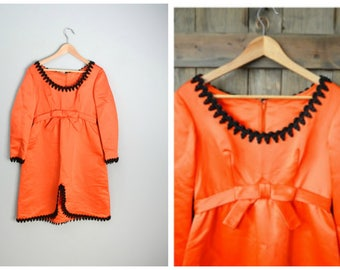 vintage 60s orange and black satin evening empire waist party mini dress -- medium --37-30-44