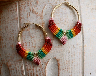 tribal rainbow hoop earrings, macrame earrings, ethnic earrings, colorful earrings, ethnic hoops, makrame, tribal hoop, goldfilled hoops,