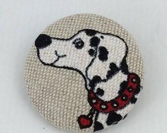 Dalmatian brooch,fabric brooch,fabric badge,button brooch,dog brooch,dog badge,accessory,Textile brooch