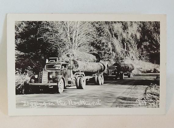 Vintage RPPC Postcard.. Logging In The Northwest.. 2 Trucks.. 449 Christian