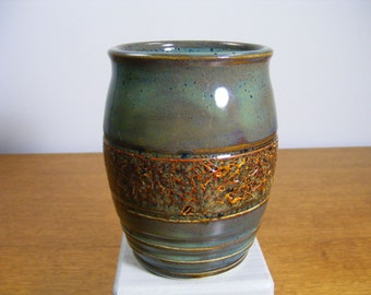 Handmade Pottery Vase,  Ceramic Vase, Ceramic Bud Vase,  Bud Vase, Ceramic Bottle, Varied Green Vase, Carved Decorated Vase  072E