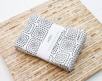 Large Cloth Napkins - Set of 4 - (N3337) - Square Dotted Black White Modern Reusable Fabric Napkins