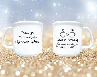 Wedding Favors Mugs Love Is Brewing 100 Personalized 8oz Plastic Coffee And Cocoa Winter
