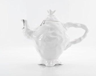 Alice in Wonderland Teapot, Porcelain Teapot, White Ceramic Teapot