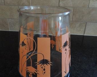 Mid Century Kitchen Canister Orange Kitchen Orange Glass Jar Orange Vase MCM