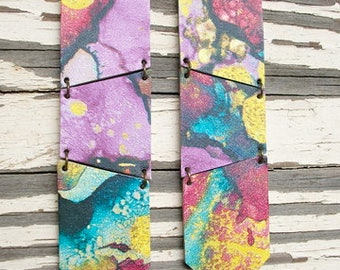 Colorful Abstract Geometric Leather Earrings