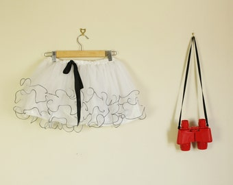 White and Black 90s Tutu Dress up Festival summer D