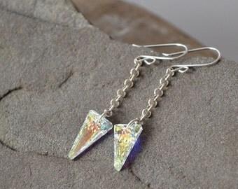 Crystal Spike Earrings, Arrow Earrings, Spike Jewelry, Long Earrings, Sterling Silver Earrings, Valentines Day Gift