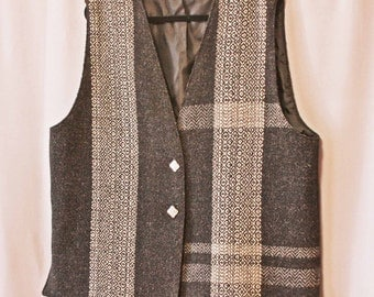 Gray hand woven wool plus sized vest; extra large handwoven gray wool women's vest