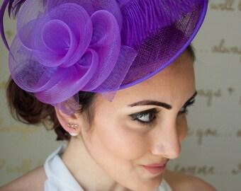 "Purple Fascinator - ""Kate"" Mesh Couture English Hat Fascinator Headband"