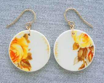 Yellow Rose Orb Earrings Broken Recycled China Jewelry Material and Movement
