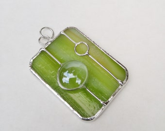 Celery green stained glass rectangle pendant FREE SHIPPING handmade jewelry