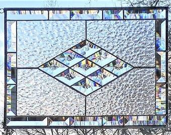Stained glass beveled window panel clear rainbow prism maker diamond suncatcher
