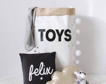 TOYS storage, paper bag toy storage, stylish kids storage, black and white toy storage, nursery storage