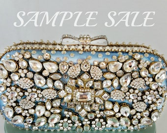 Sample Sale Blue Crystal Bag . Houston Clutch Bag . Blue Crystal Evening Clutch . Houston City Sparkling Bag, Texas Wedding Bag . ON SALE