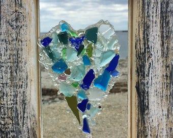 Heart in beach glass