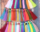 "Silky Luxe Jewelry Tassels, Spring Pantone Colors, Jewelry Making Necklace Mala Tassels, Fall Fashion Tassels, 3.5"", You Choose 3+ Colors"