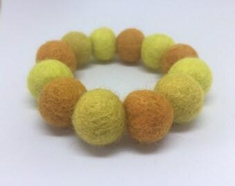 FIVER FRIDAY! Chunky bracelet, yellow felt bracelet, felt bead bracelet, stretch bracelet, felt ball bracelet, yellow bracelet