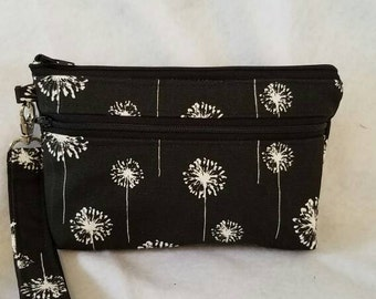 iPhone large double zipper pouch wristlet-New Item