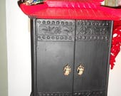 reserved for An Vintage Pagoda style cabinet with rhinesone dragons and warrior pulls