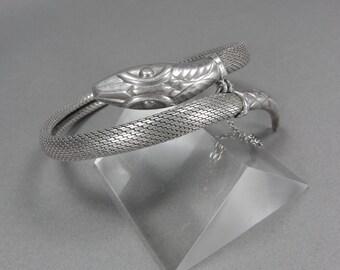 Antique Snake Bracelet, Silver Mesh, Serpent, 835 Silver, 900 Silver, Egyptian Revival, Vintage European Jewelry