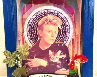 "David Bowie ""we could be heroes, just for one day"" prayer alter lightbox diorama with cat"
