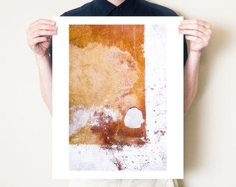 Rustic abstract wall photography print. Industrial orange ochre textured artwork, urban fine art photograph. Small or large format print