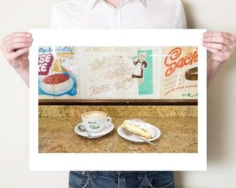 Italian cappuccino photography print, coffee artwork. Tuscan pasticceria cafe decor. Large format sizes, fine art photograph by Tom Bland