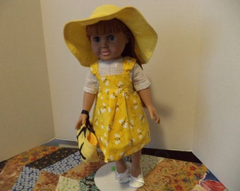 Yellow Bumble Bee Sundress, Blouse, Hat, Tote Bag, 18 inch dolls, Ready to Ship