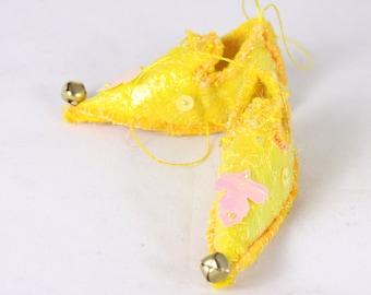 Yellow leaf Fairy Shoe christmas ornament magical holiday decor elf shoe slipper tree decoration elf faerie shoe miniature footwear
