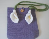 Reserved for Alicia Crocheted Purse with Calla Lily Stem Handles in Light Purple Cotton