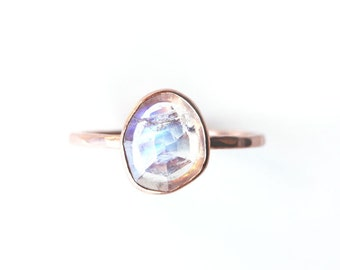 Rainbow moonstone & 14k gold ring, moonstone engagement ring, rose cut, moonstone jewelry, rose gold, solitaire, june birthstone, wedding