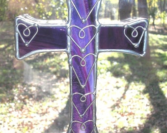 LT Stained Glass cranberry mauve Cross sun catcher, light catcher with hand formed wire heart overlays, my hand made in the USA, unique gift