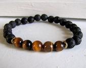 SALE Men's Bracelet Tiger's Eye Bracelet Lava Stone Bracelet Mala Bracelet Mens Gift Black Yoga Bracelet Meditation Healing Jewelry Boho Bra