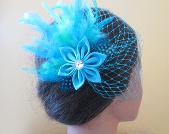 Turquoise Feather Hair Fascinator, Teal Blue, Aqua Wedding Head Piece, Something Blue, Bridesmaid, Flower Girl, Prom Hair, Something Blue