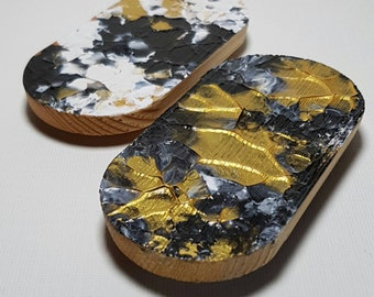 FRIDGE MAGNETS - Abstract Paint Art Fridge Magnets - textured matt finish, oval shape, gold, white and black, two sturdy magnets on back