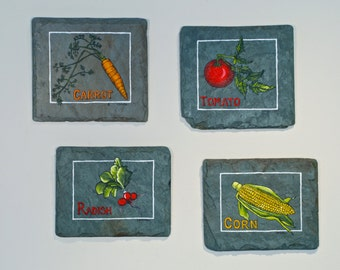 Group of Four Vegetable Paintings on Salvaged Slate Kitchen Art Handmade in Vermont