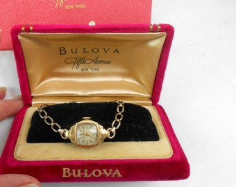 Vintage Bulova watch case and original gift box red velvet magenta and gold and magenta vintage Bulova wrist watch vintage bulova packaging