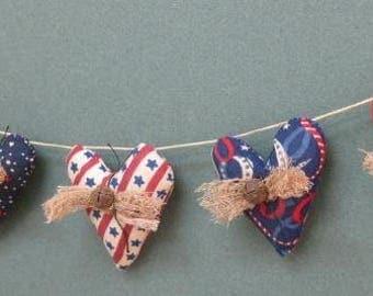 Americana Mini Heart Garland - 5 Primitive Grungy Fabric Small Stuffed Hearts - Primitive Patriotic Decor - July 4th Garland -Red White Blue