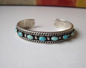 Sterling Silver Navajo Turquoise Cuff Bracelet 34 gr