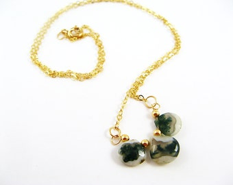 Peacock Solar Quartz Necklace - Gold, Unusual, Fast Shipping