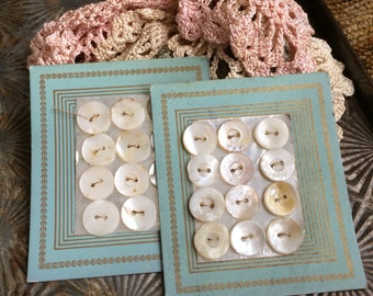Mother Of Pearly Antique Buttons On The Best Aqua Paper Cards