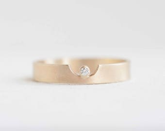 4 x 1 Semicircle Cut Out Ring + Diamond Accent | 14k Recycled Gold