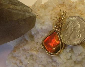 Bright Gem Red, Orange and Yellow Fire Ammolite from Utah Deposit in Gold Filled Wire Wrapped Pendant 523
