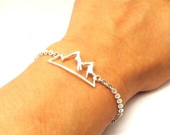 Silver Mountain Range Bracelet - Mountain Jewelry, Mountain Scape Bracelet, Camping Gift for Mountaineer, Inspirational gift, Climber Gift