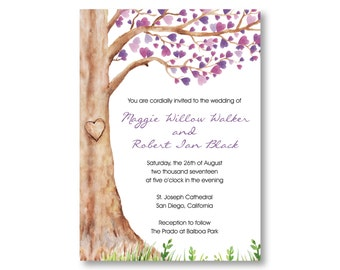 Watercolor Wedding Invitations, Purple with Tree and Hearts, Custom Printed with RSVP Cards and Envelopes, 20 Pieces Per Order